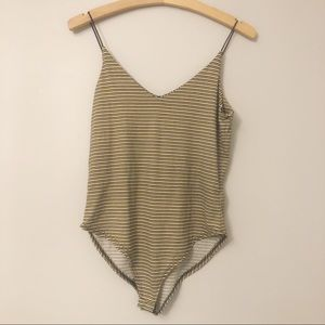 NWOT Gaze V-Neck Striped Bodysuit